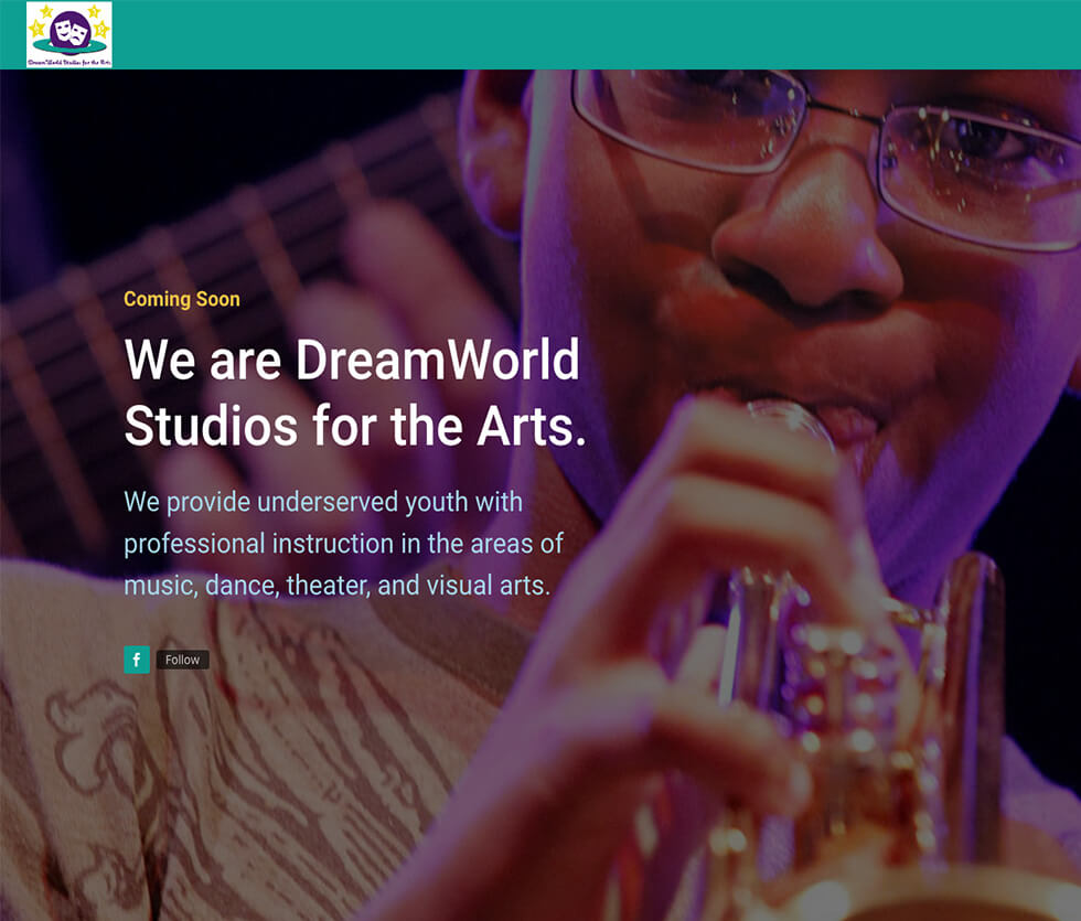 DreamWorld Studios for the Arts Landing Page